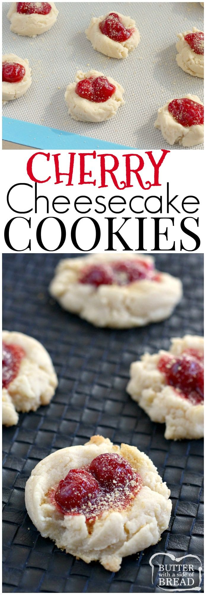 Cherry Cheesecake Cookies have cream cheese and cheesecake pudding in them, are topped with a little bit of cherry pie filling and then sprinkled with graham cracker crumbs! #cookies #recipe Butter With a Side of Bread