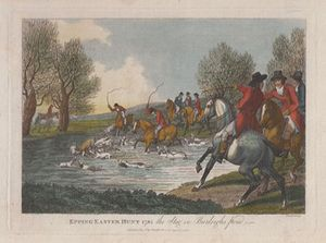 Epping Easter Hunt 1795 the Stag in Burleighs Pond. by Cook