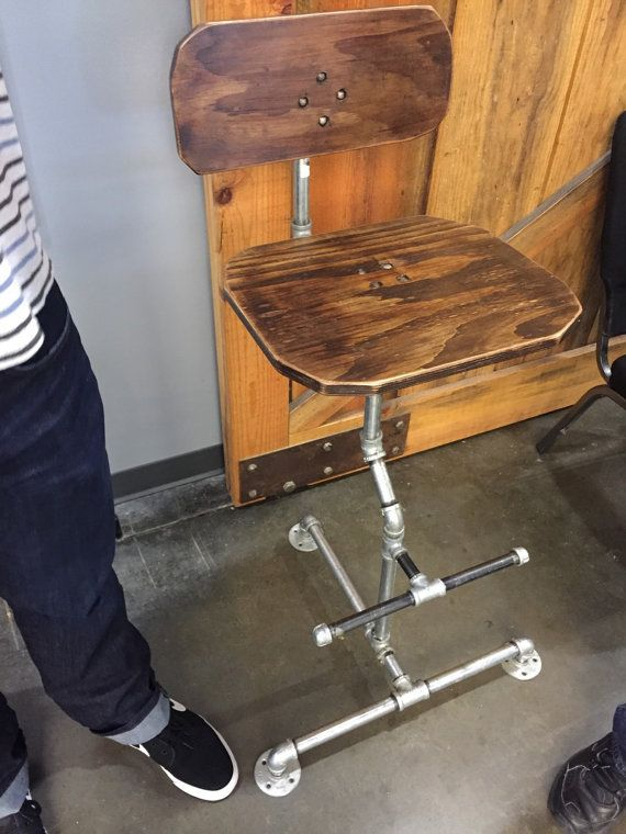Handmade in the USA industrial pipe barstool