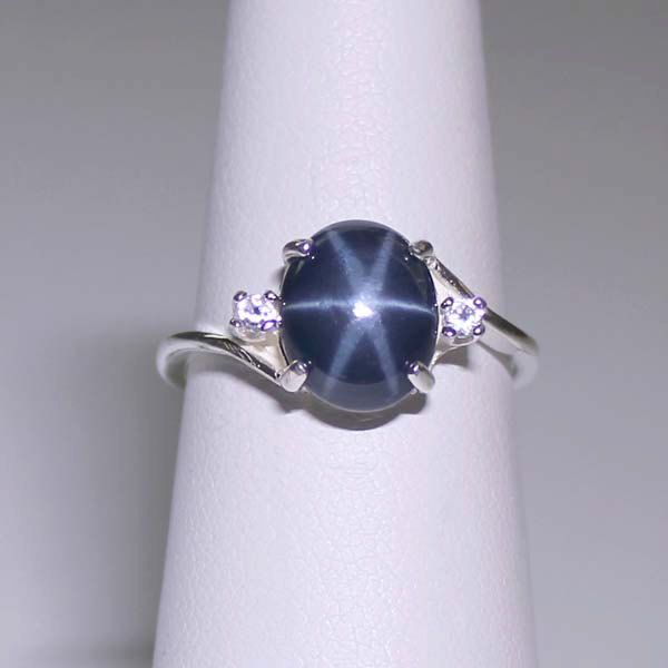 Genuine Blue Star Sapphire Sterling Silver Ring with Accents / Blue star sapphire ring. $149.95, via Etsy.