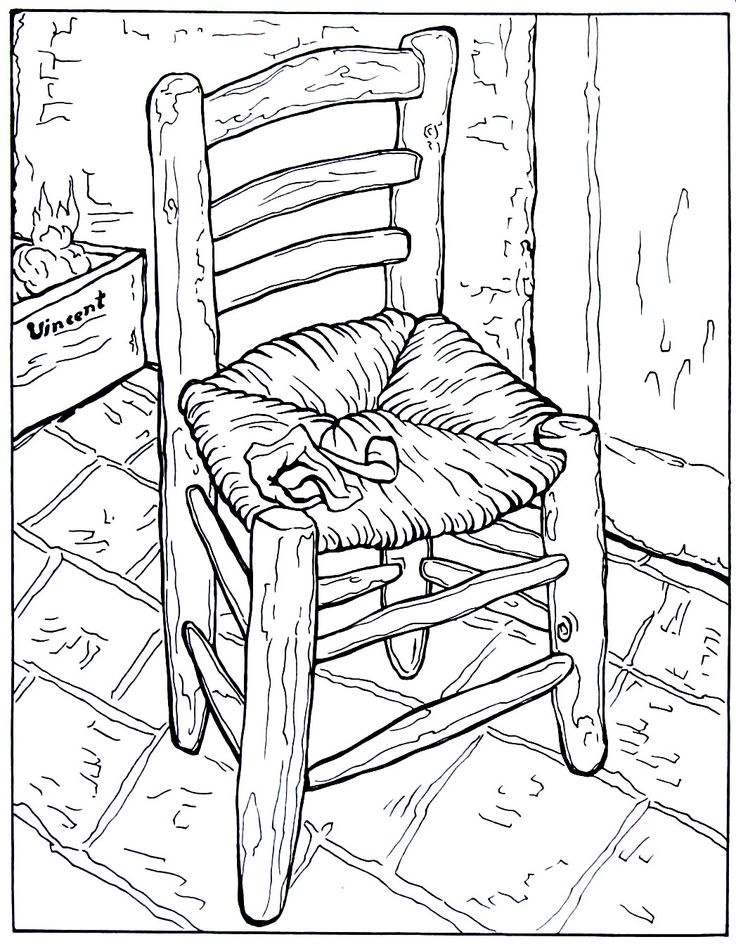 vincents chair with his pipe impressionist painting by vincent van gogh printable coloring book page - Van Gogh Coloring Book
