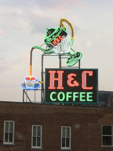 H & C Coffee   Roanoke, VA   A really lovely neon whimsy that welcomes you into downtown Roanoke. Truly a special bit along the American roadside... Flickr - Photo Sharing!