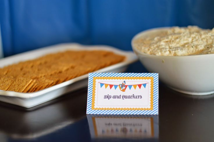 "Donald Duck Birthday Party Food ""Dip and Quackers"""