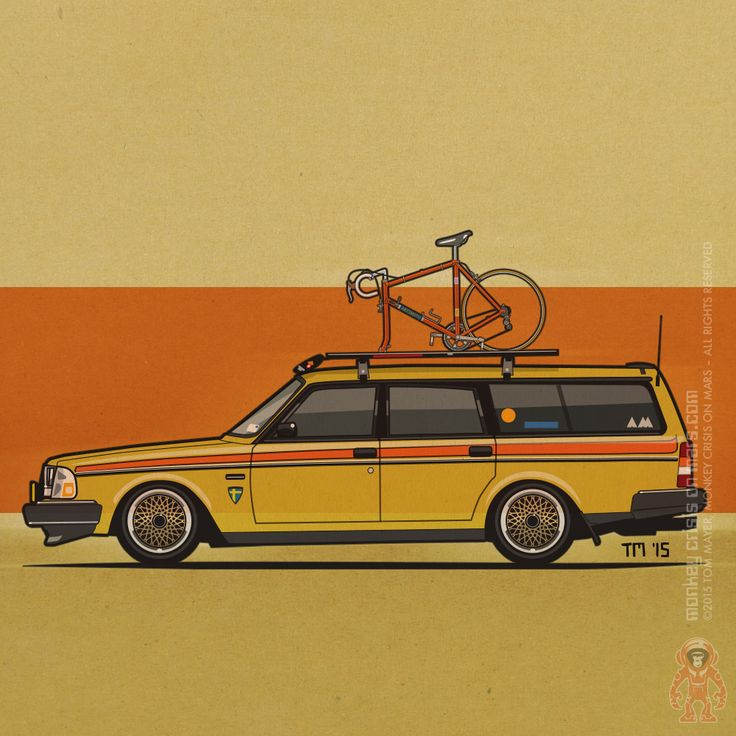 Yellow Volvo 245 Wagon With Bike – Illustration of a lowered 200 series wagon with roof rack and vintage Merckxx bicycle. http://shop.spreadshirt.com/volvofornia/-LI1005021298 #Volvo #Wagon #WagonLove #VolvoLove #OldSchool
