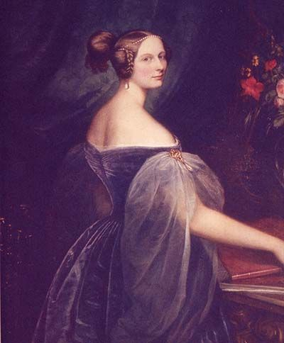 Elena Pavlovna wearing a blue dress