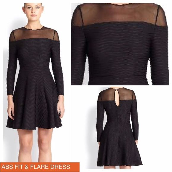 """ABS FIT AND FLARE DRESS A feminine silhouette elevated with textured ribbing and mesh contrast. Jewel neckline, seamed waist, back keyhole with button closure. Polyester/spandex. Dry clean. About 20"""" from natural waist. Exquisite. ABS Allen Schwartz Dresses"""