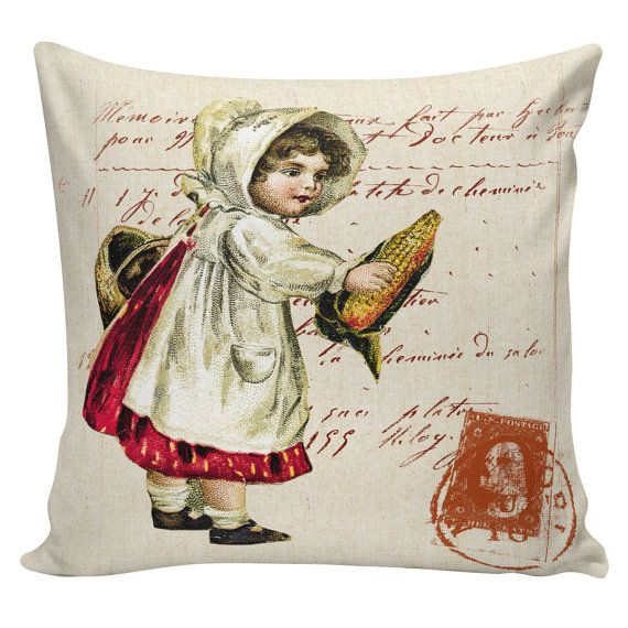 Fall Throw Pillow Ideas : Thanksgiving Pillow Vintage Fall Pilgrim Girl Postcard Burlap Cotton Throw Pillow Cover TH-16 ...
