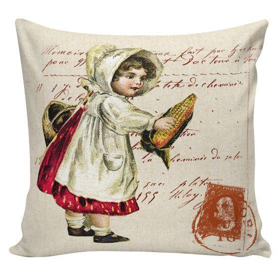 Thanksgiving Pillow Vintage Fall Pilgrim Girl Postcard Burlap Cotton Throw Pillow Cover TH-16 ...