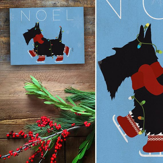 Skating Scottie scottish terrier christmas dog holiday winter graphic art on canvas panel by Stephen Fowler