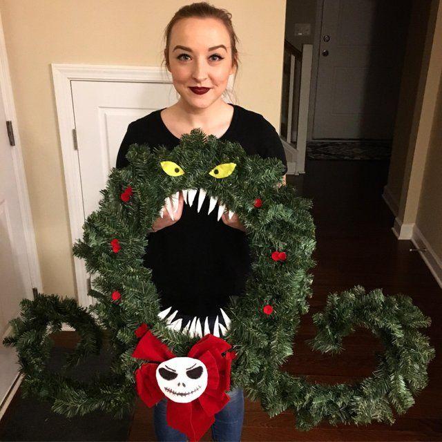 Reddit Disney I Made The Wreath From Nightmare Nightmare Before Christmas Pumpkin Nightmare Before Christmas Decorations Nightmare Before Christmas Wreath