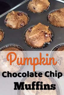 Pumpkin Chocolate Chip Muffins - Made healthier with coconut oil and coconut sugar.  Perfect recipe for using up that extra pumpkin!