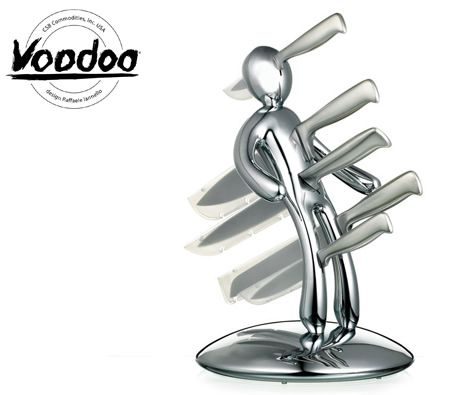 Raffaele Iannello Voodoo Kitchen Knife Block Set with Five Knives - Chrome