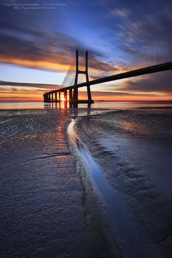 Sunrise in Vasco da Gama Bridge, Lisbon, Portugal