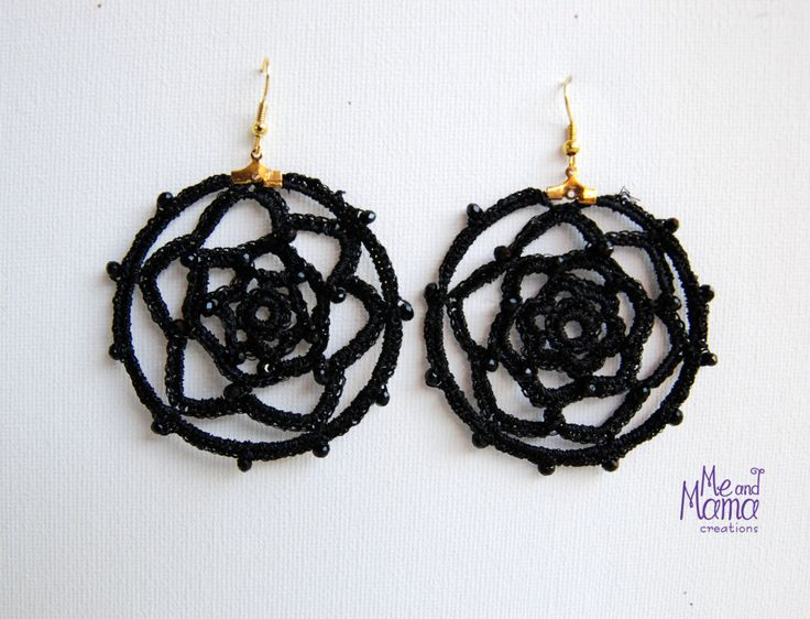 BLACK Crochet Hoops Earrings. Dreamcatcher dangle earrings. Gift for Her, for teens. Wedding jewelry, Stocking stuffer, Gift under 25euros by MeandMamaCreations on Etsy