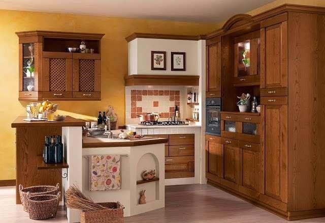 Le cucine in muratura - Il legno massello