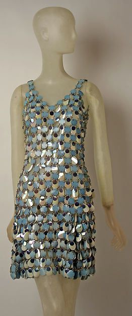 Evening dress Designer: Paco Rabanne (French, born Spain, 1934) Date: 1965 Culture: French Medium: plastic, metal Dimensions: Length at CB: 24 in. (61 cm) Credit Line: Gift of Paco Rabanne, 1967