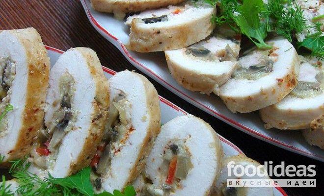 Куриный рулет с грибами - рецепт приготовления с фото | FOODideas.info