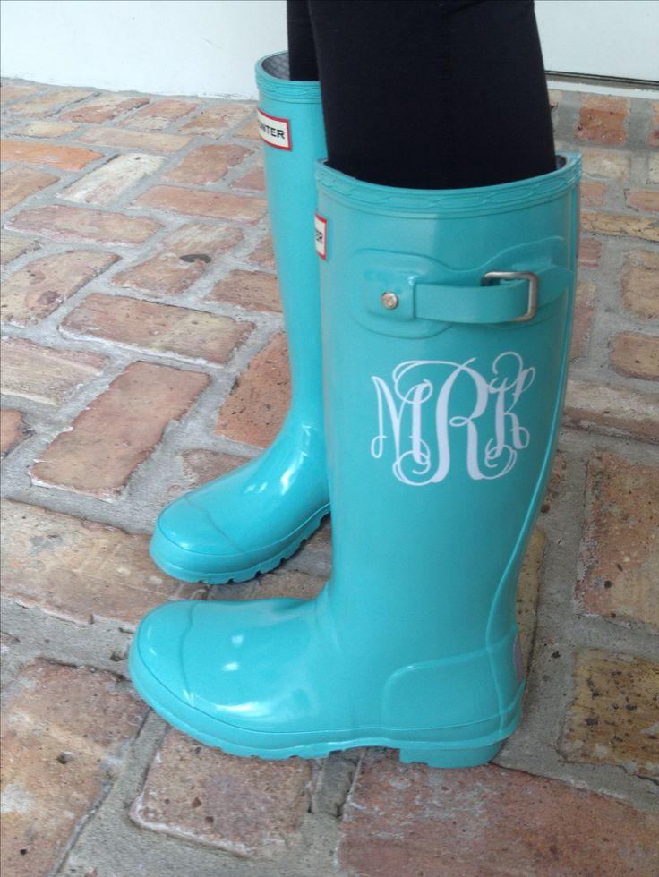 Monogrammed Tiffany Blue Hunter Boots Monogram