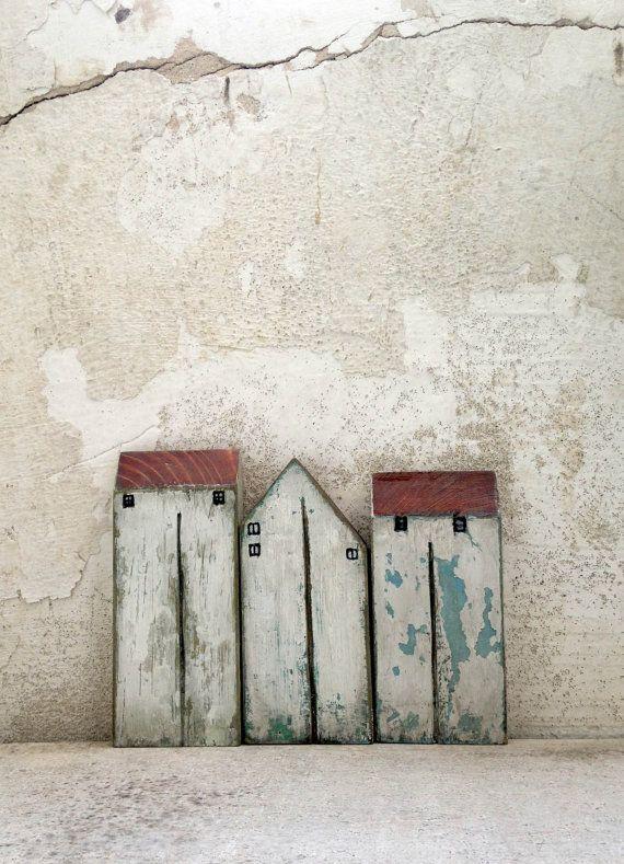 Holzhäuser Set Häuser Miniatur-Häuser Wohnkultur von VesnaGusmanArt