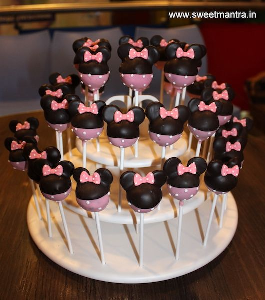 Minnie Mouse theme homemade eggless Cake Pops for kids birthday party at Pune