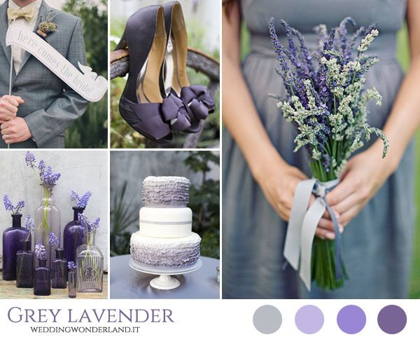Purple, lavender and grey wedding inspiration board