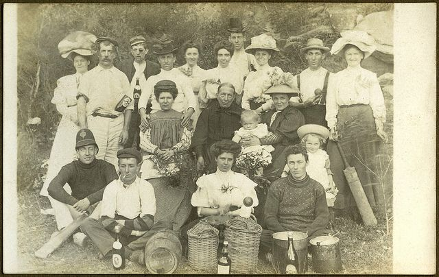 Australian photo postcard from early 1900s showing a group of people at a picnic. This is from a series of photos found in a photo album in Sydney.