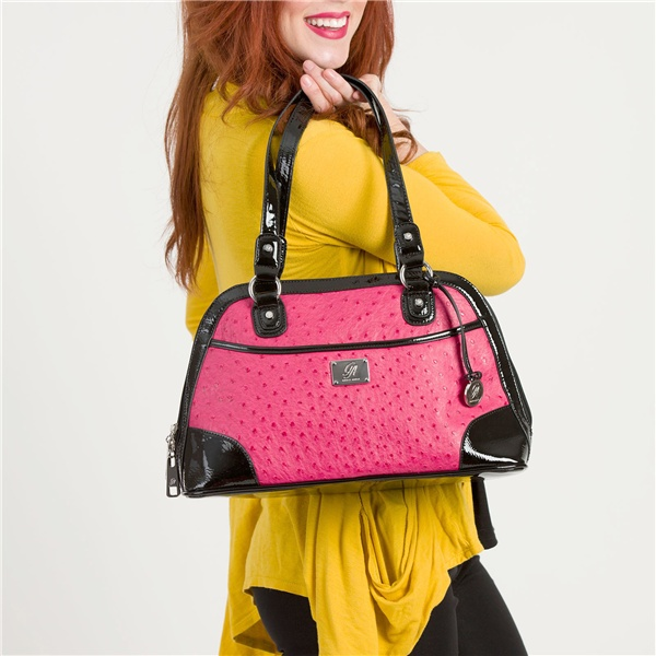 Hot Pink Grace Adele bag with patent black trim  $80