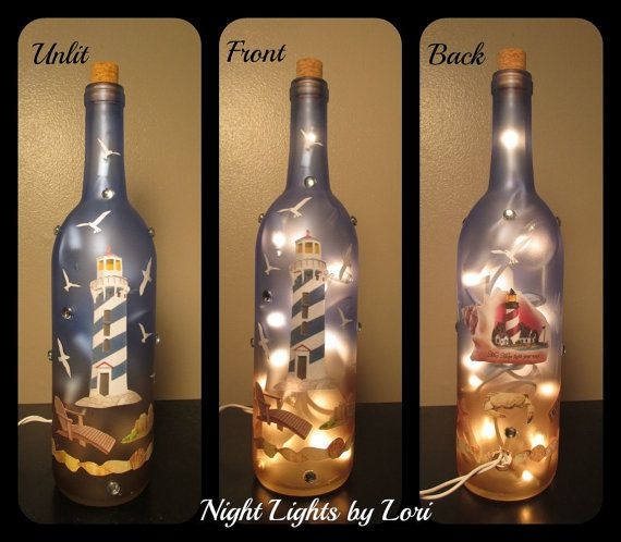 Lighthouse Beach Lighted Wine Bottle Night Light