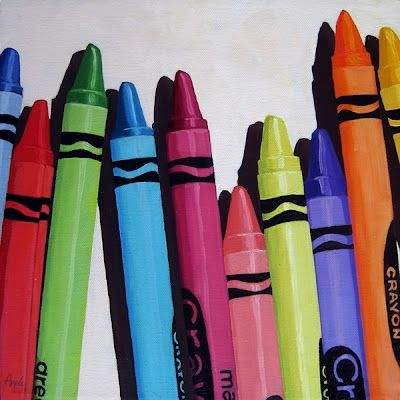Colorful Crayons - realistic still life oil painting -- Linda Apple