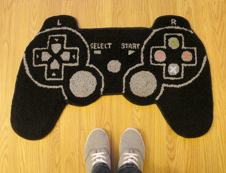 PS3 Controller Inspired Rug. $63.00, via Etsy.