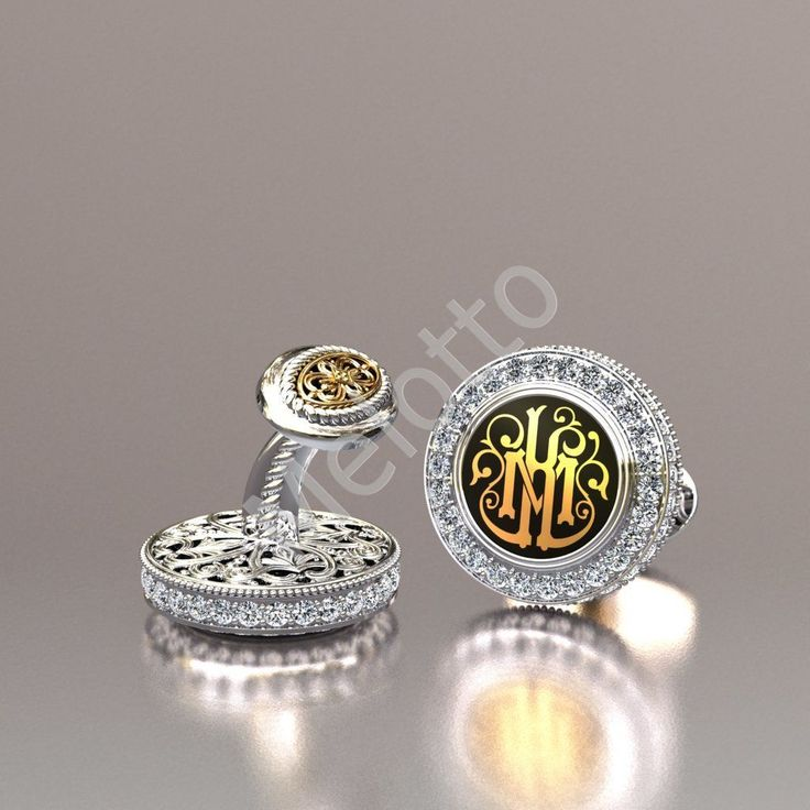 Запонки с бриллиантами и монограммой на заказ 26Z6008