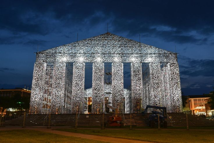 """A Greek-style temple made out of banned books is part of the 2017 Documenta art show in Kassel, Germany.   """"The Parthenon of Books"""" is by Argentine artist Marta Minujin. It stands at the site where, in 1933, Nazis burned books by Jewish or Marxist writers."""
