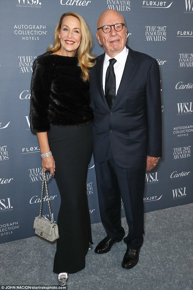 Smitten: Jerry Hall, 61, and her husband Rupert Murdoch, 86, couldn't have looked happier as they attended the WSJ Innovator Awards held at the Museum of Modern Art in New York on Wednesday night