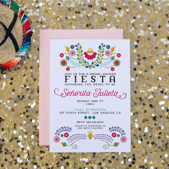 Fiesta Bridal Shower Invitation Mexican Invitation by SoireePapery Option D