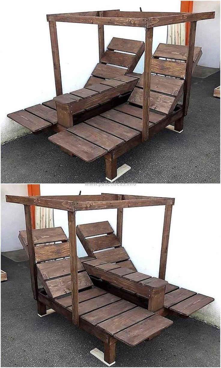 pallet double seat sun lounger