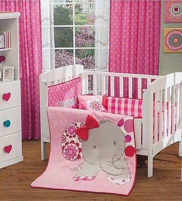 New Baby Girl Elephant Crib Bedding Nursery Set 6 Pieces   eBay