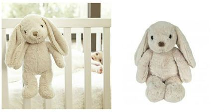 Cloud B: Bubbly Bunny     - Plays soothing sound options: Friendly giggles, Soothing winds, Ocean waves, Gentle Lullaby  - Two sleep-timer options: 23 and 45 minutes  - Velcro tab for easy attachment to baby's crib  - Requires 2 AA batteries; batteries are included