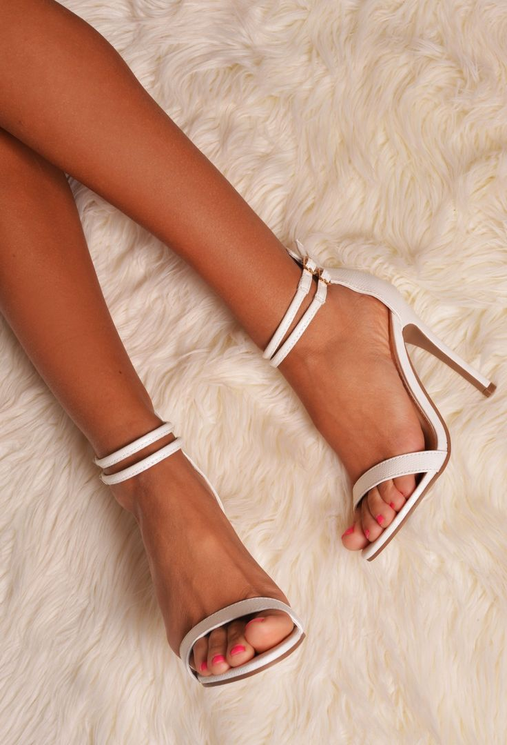"PB ""Barely There Heels with Double Ankle Strap"" Get yours: http://www.pinkboutique.co.uk/collections/spring-casuals/tejana-white-strappy-leather-look-stiletto-heel.html"