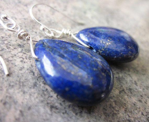 'something blue' lapis & sterling handmade earrings, by philosophiacreations on Etsy
