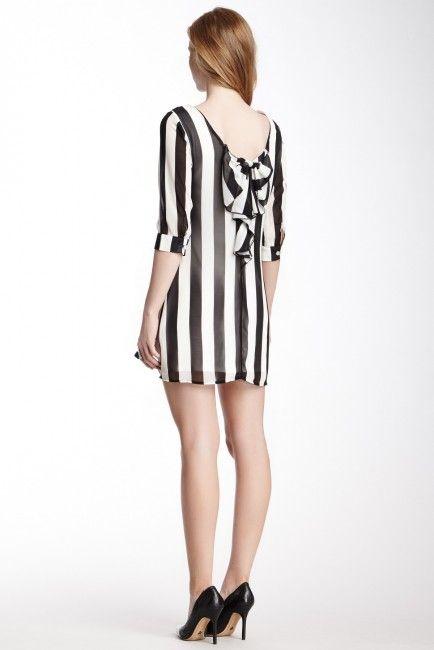 Striped Bow Back Shift Dress
