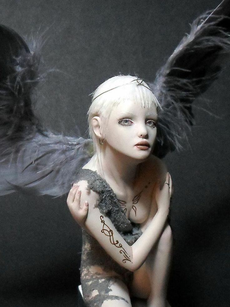 OOAK Handmade Silver Angel Fairy Sculpture Art Doll Fantasy Figurine by BBD
