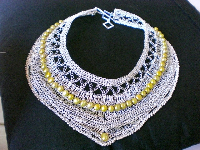 silver wire crochet with pearl