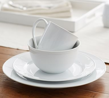 Great White Traditional Dinnerware #potterybarn dinner, salad, cereal, mug 4 place setting