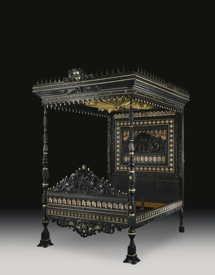 A fine and rare Anglo-Indian carved and inlaid ebony, faux tortoiseshell  and ivory. European FurnitureIndian FurnitureAntique FurnitureWooden ... - 292 Best Antique Beds Images On Pinterest Antique Furniture