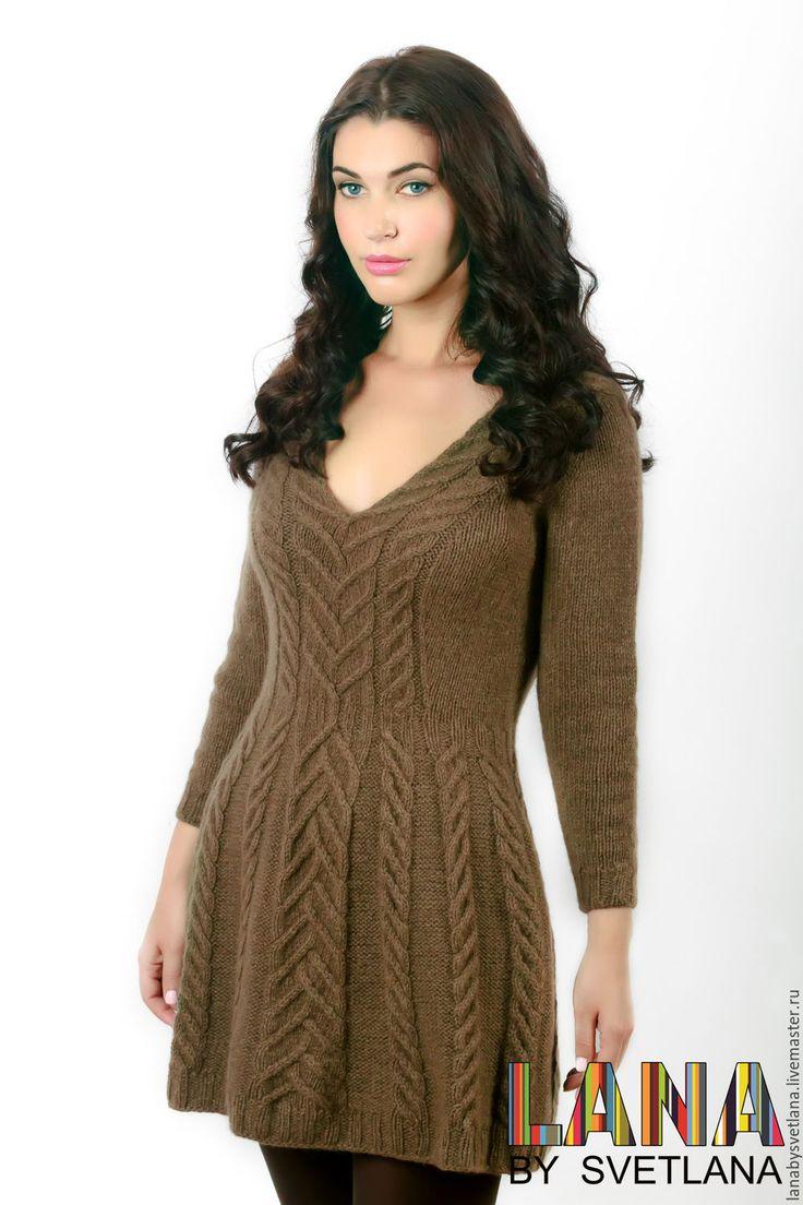 Купить Вязаное платье без швов с имитацией втачного рукава. Мастер-класс…