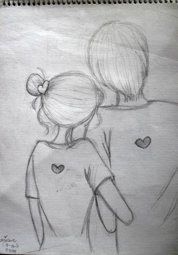 Pencil Sketches Of Cute Couple