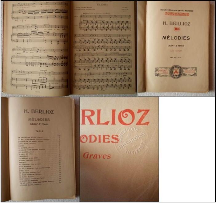 Hector Berlioz, MELODIES, Voix graves, partituri, magazinul Conservatorului Bucuresci