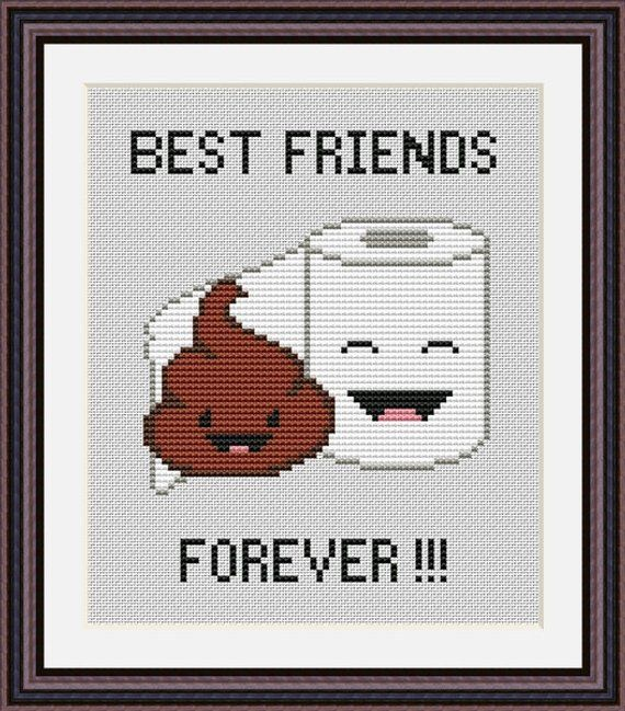 Poop Emoji Funny Cross Stitch PDF Pattern - Poo and Toilet Paper