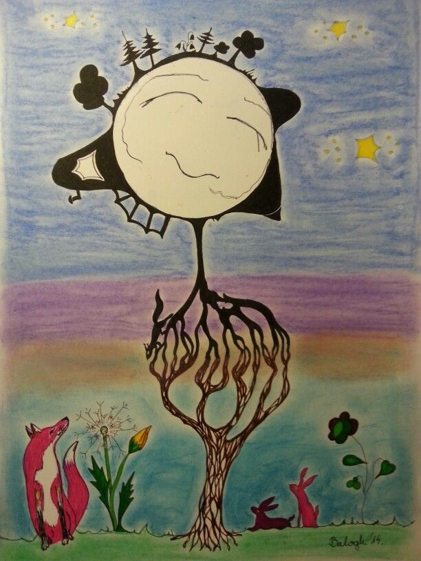 The Moon's world 2. Contact. A Hold világa 2. Kapcsolat. Pastell, fineliner, A3 paper. Artist: Balogh Krisztina.