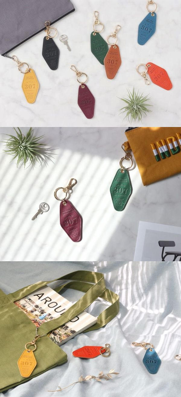 To give a unique look to your bags or items, try attaching them with the Classic Genuine Leather Hotel Key Ring! It's a cute keychain made of genuine cowhide leather that resembles the old hotel keys!